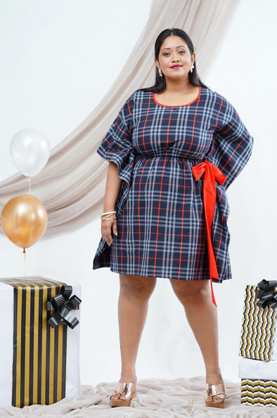 CHECK-ME-OUT short Kaftan dress
