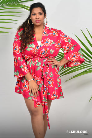 Pink Flower Power - Robe coverup / dress