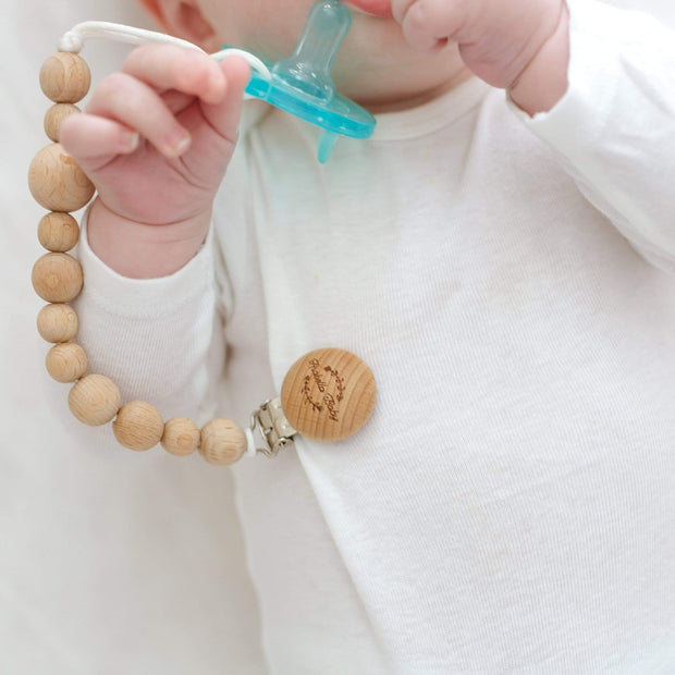 All Natural Beechwood Pacifier Clip and 2 Silicone Pacifiers