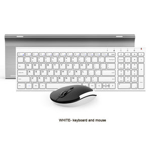 B.O.W  Slim Metal Multimedia Optical Wireless Keyboard and Moue (Silent Design) 2-in-1 Combos for Laptops Desktops PC Computer