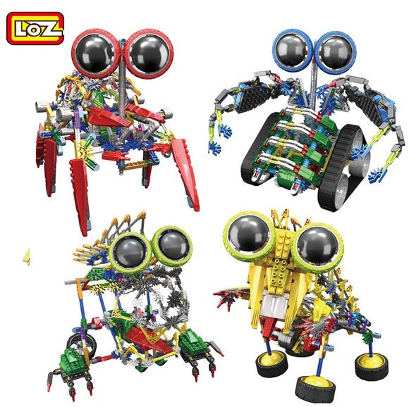 LOZ Robot series Electronic Building Blocks DIY Toy Assembly Educational Spider Model Toys For Children Kids Gifts 3025-3028