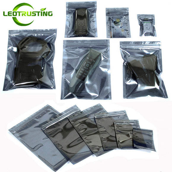 Leotrusting 100pcs Anti Static Shielding Ziplock Bag ESD Anti-static Instrument Pack Pouches Waterproof Self Seal Antistatic Bag