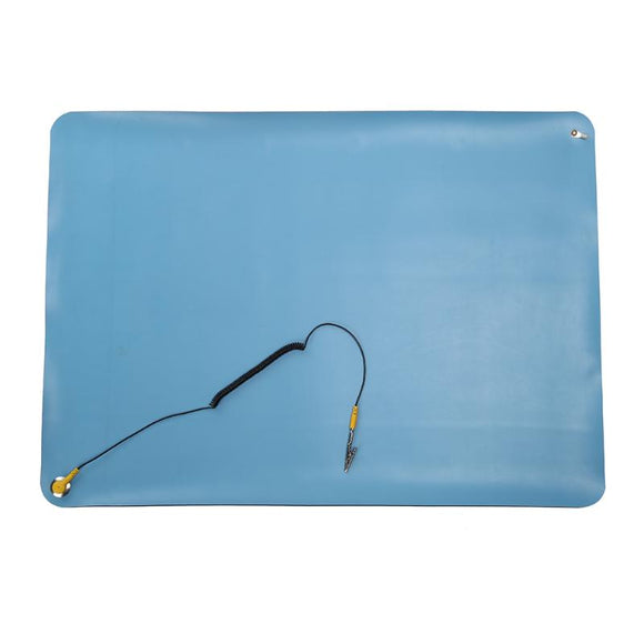 Heat Insulation Silicone Pad Anti Static Mat PC Maintenance Desk Mat Soldering Repair Station + Ground Cord ESD Band 70x50cm