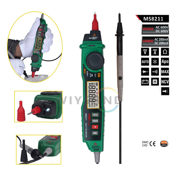 M071 AIMOMETER MS8211 Pen type Digital Multimeter NCV Detector Non contact DC / AC Voltage Current Meter Data Hold Multimeter
