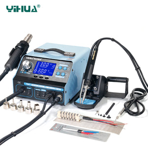 YIHUA 992DA+ Hot Air LCD Soldering Station Smoking Solder Iron With BGA  Rework Station 4 In 1 Vacuum Pen