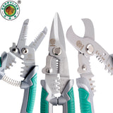 "BERRYLION 7""/8"" Crimping Pliers 3 in 1 Wire Stripper Scissors For Cutting Cable Leather Electrician Hand Crimping Tools"