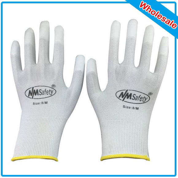 NMSAFETY 240 PCS PU ESD Work Gloves Nylon PU Gloves ESD Working Gloves PU Anti Static Work Gloves