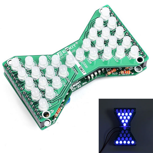 DC 5V Blue LED Electronic Hourglass DIY Kit Speed Adjustable Funny Electronic DIY Kits LED Double Layer PCB Board DIY Electronic