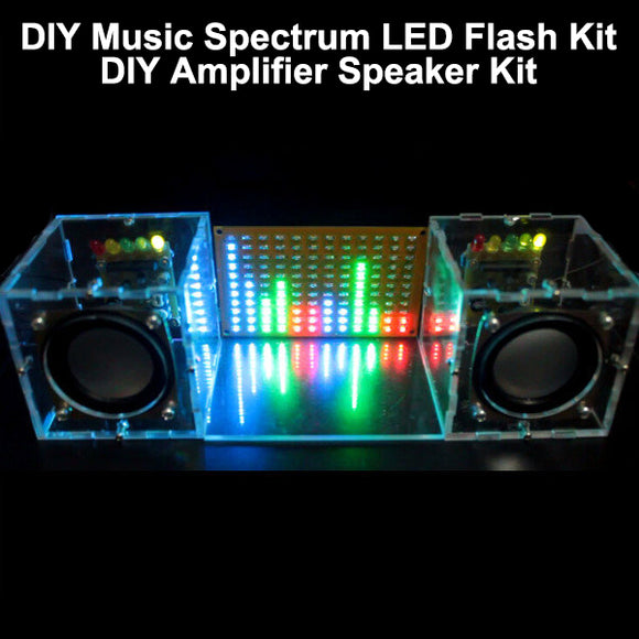 With Housing DIY Music Spectrum LED Flash Kit + DIY Amplifier Speaker Kit Acrylic case Free Shipping