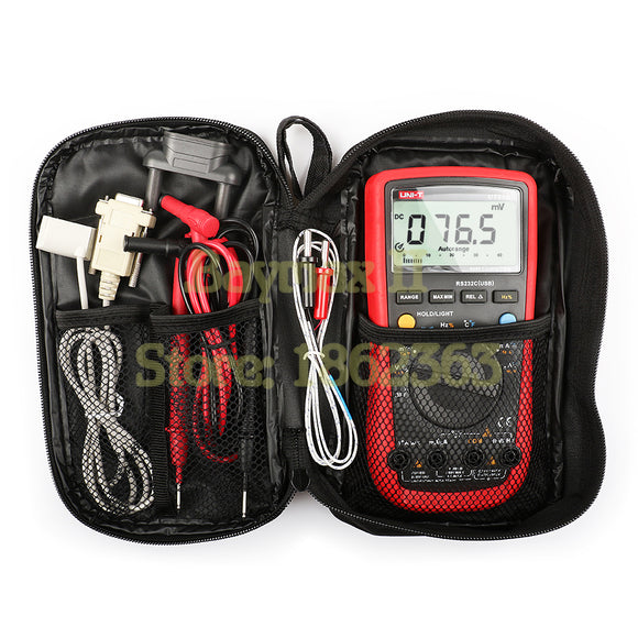 UNI-T UT61B Full Function Digital Multimeter for AC/DC Voltage Current, Ohm, Capacitance, Temperature, Hz Test with Carrying Bag