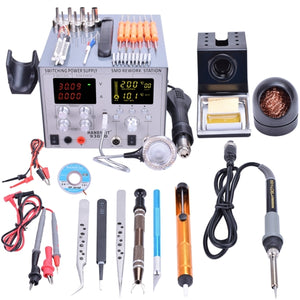 18 in1 Digital SMD Air Gun Rework Station US 110V / 220V EU Plug Soldering Iron Station Power Supply 5V 2A with Tools Accessies