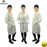 Free Shipping cleanroom lab coat ESD Smock Work Wear Smock Cleanroom  Polyester Uniform Wrist Strap +Foot Grounder