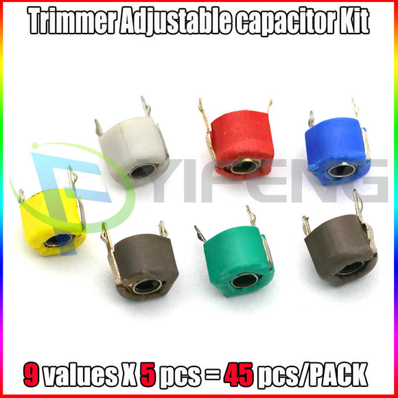 45pcs=9value*5pcs trimmer Adjustable capacitor Assortment Kit JML06 5pf 10pf 20pf 30pf 40pf 50pf 60pf 70pf 120pf