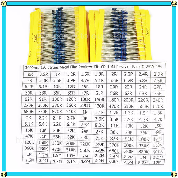3000pcs/lot 1/4W 150values X20pcs=3000pcs Metal Film Resistor pack Resistor Kit 1R~10M Resistor Pack 0.25W 1%  Assorted Kit