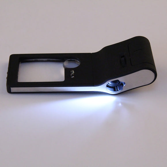 6 in 1 LED Handheld Pocket Magnifier 3X 10X Magnifier 55X Microscope Loupe and UV Light Magnifying Glasses with 6LED Repair Tool