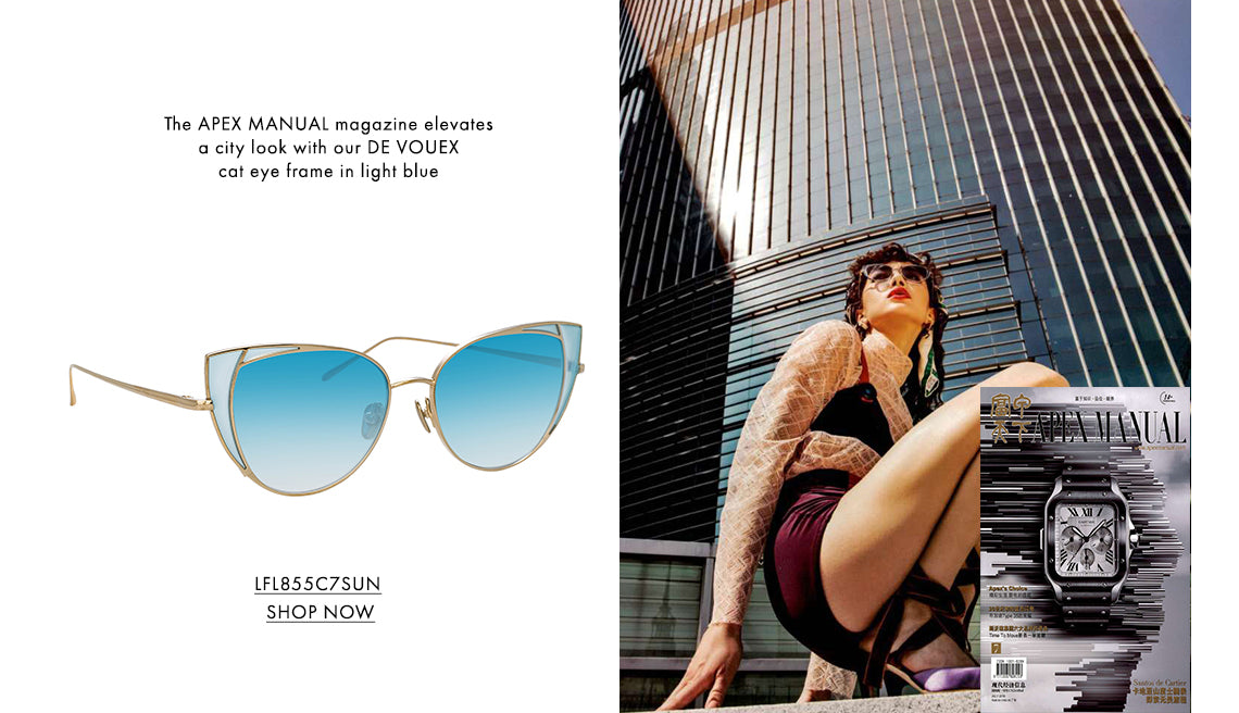 The APEX MANUAL magazine elevates a city look with our DE VOUEX cat eye frame in light blue