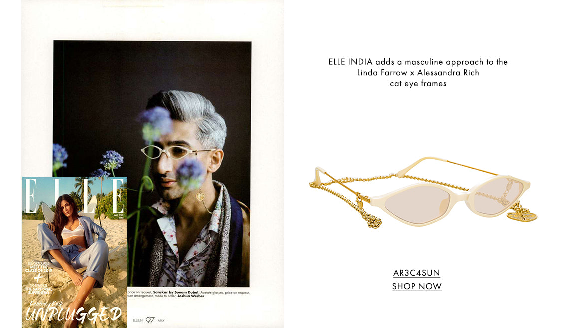 ELLE INDIA adds a masculine approach to the Linda Farrow x Alessandra Rich cat eye frames
