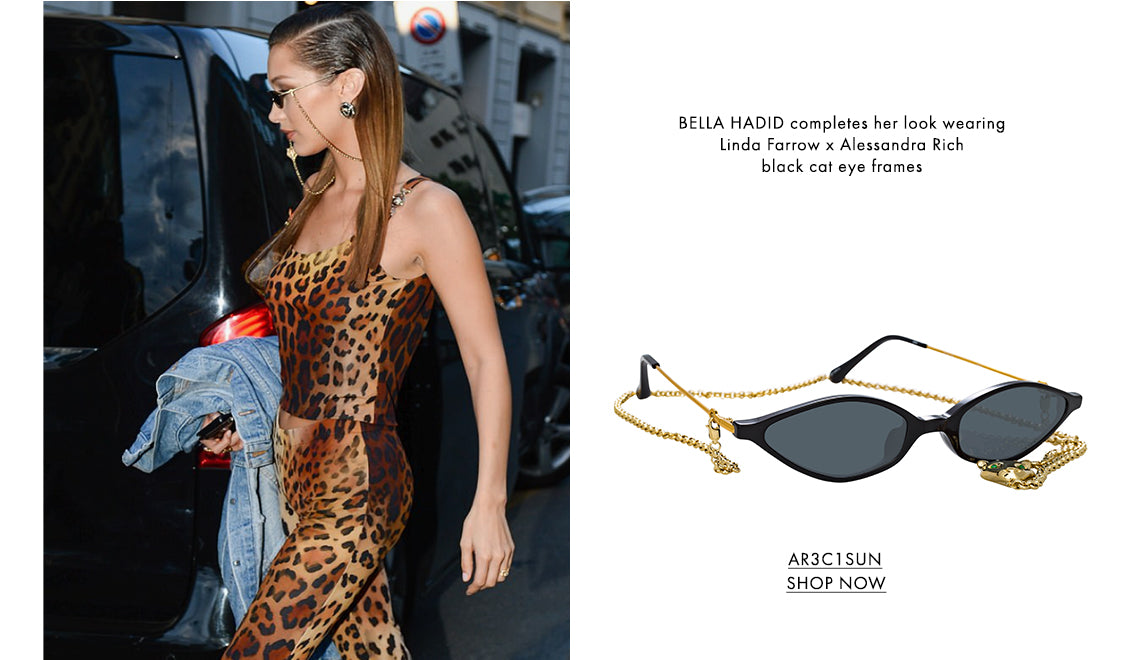 BELLA HADID completes her look wearingLinda Farrow x Alessandra Richblack cat eye frames