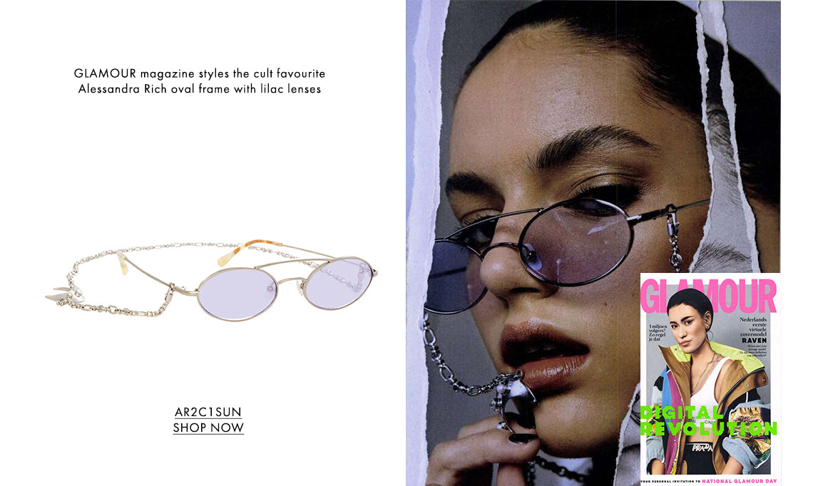 GLAMOUR magazine styles the cult favouriteAlessandra Rich oval frame with lilac lenses AR2C1SUN