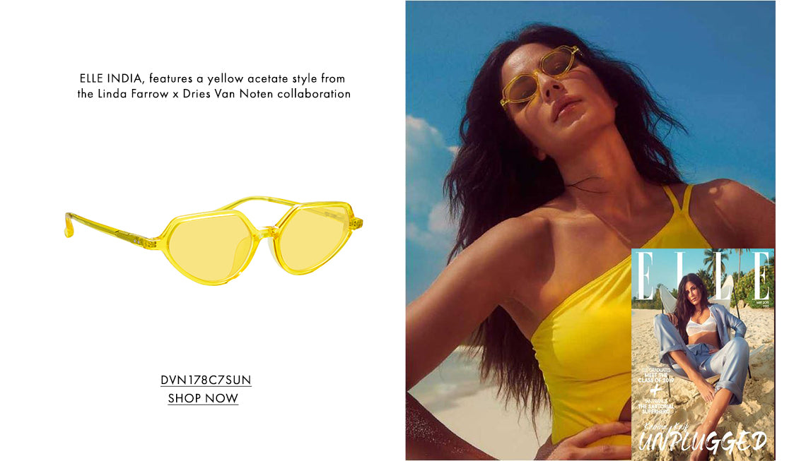 ELLE INDIA, features a yellow acetate style from the Linda Farrow x Dries Van Noten collaboration DVN178C7SUN