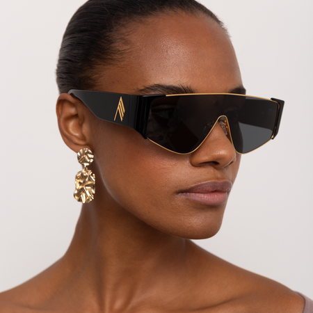 The Attico Carlijn Shield Sunglasses in Black
