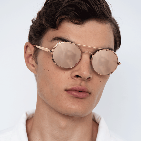Jimi Oval Sunglasses in Rose Gold