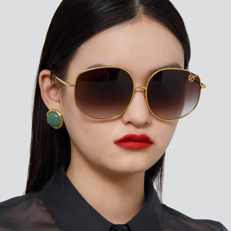 Marisa Oversized Sunglasses in Light Gold and Brown