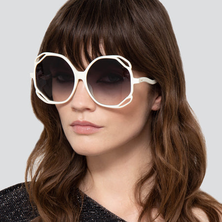 Jerry Oversized Sunglasses in White