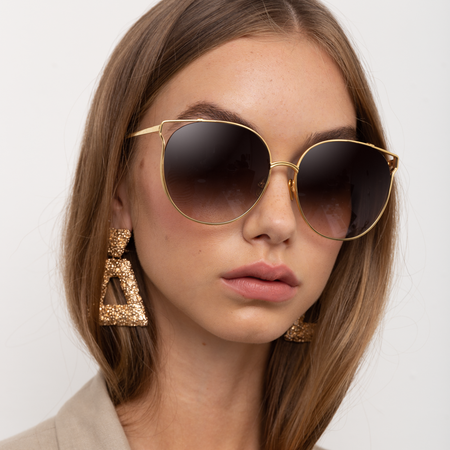 Joanna Oversized Sunglasses in Yellow Gold