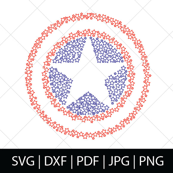 CAP'S SHIELD IN STARS - CAPTAIN AMERICA SVG FILE