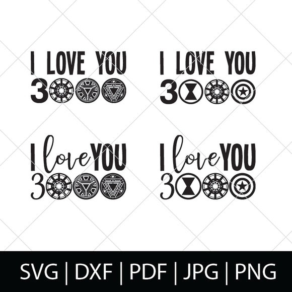 AVENGERS ENDGAME I LOVE YOU 3000 SVG BUNDLE