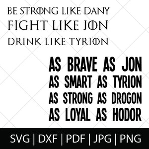 GOT CHARACTER TRAITS - GAME OF THRONES SVG BUNDLE