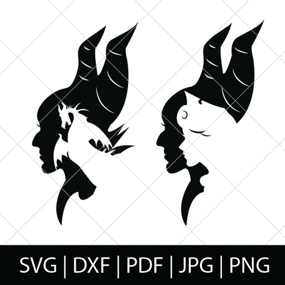 MALEFICENT SILHOUETTES - SLEEPING BEAUTY SVG FILES