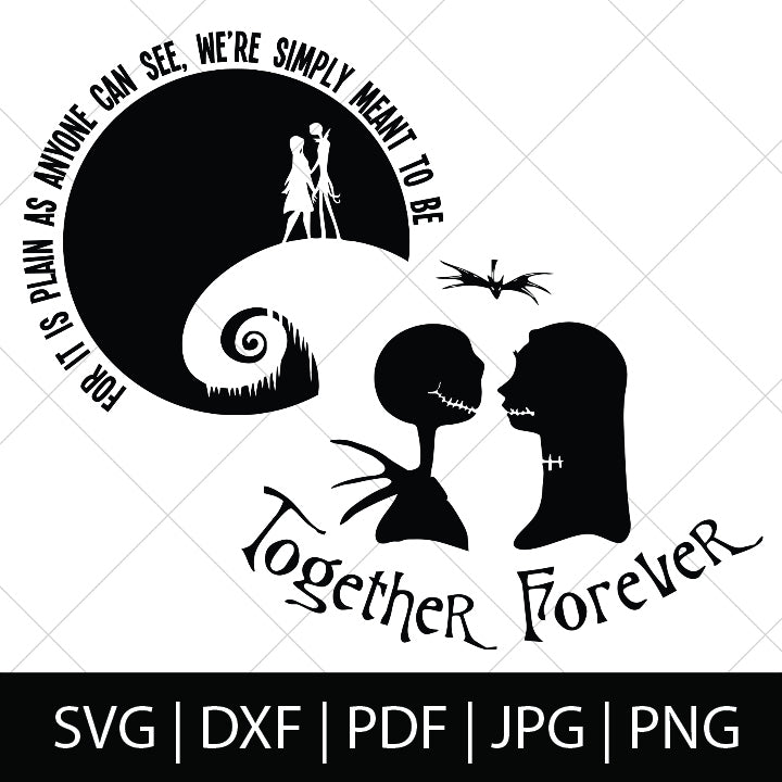 Jack And Sally Together Forever Nightmare Before Christmas Svg Files Thelovenerds