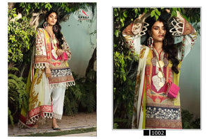 SANA SAFINAZ-JAM SATIN PRINT EMBROIDED SUIT WITH COTTON BOTTOM AND COTTON/CHIFFON DUPATTA (SET OF 4)