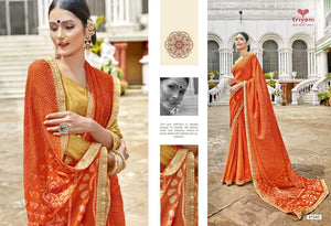 GANGOTRI- PURE GEORGETTE DESIGNER SAREE WITH EMBROIDERY( SET OF 8)