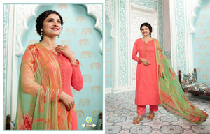KERVIN-AARUSHI, COTTON SATIN SUIT WITH CHIFFON DUPATTA/ THREAD EMBROIDERY WORK WITH DIGITAL PRINT( SET OF 8)