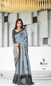 SWAROUSKI VOL 3-HEAVY GEORGETTE PRINT SAREE WITH DESIGNER WORK ( SET OF 8)