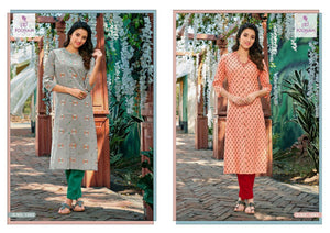 POONAM- SPRING RAYON KURTI WITH HAND WORK ( SET OF 12)