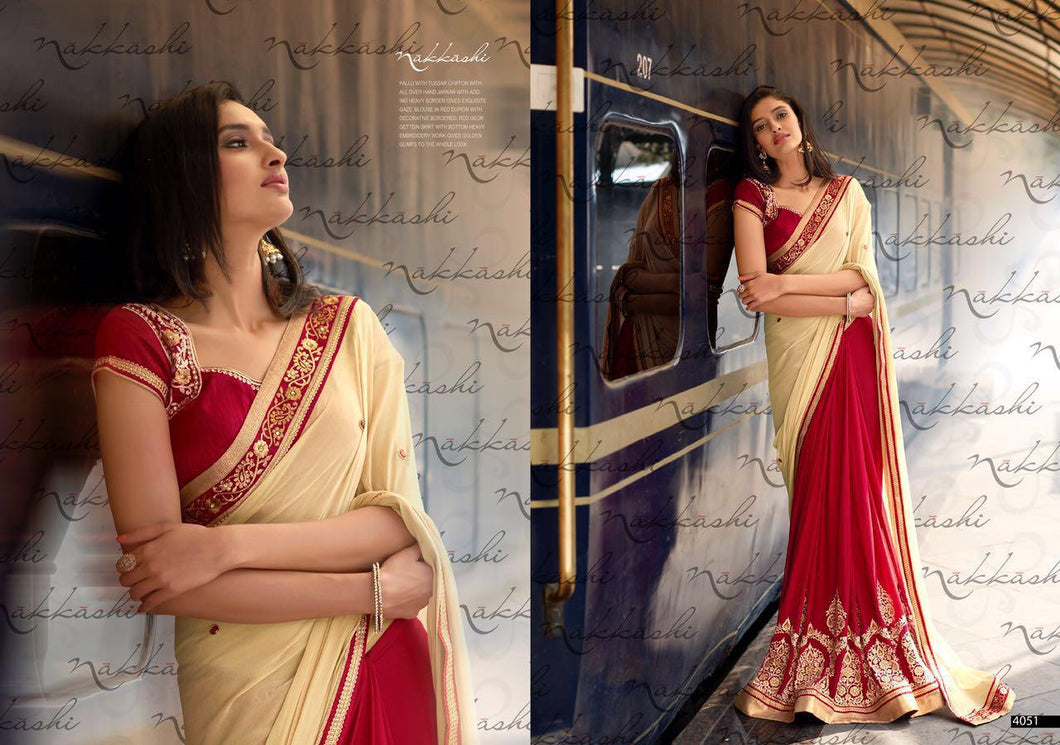 4051 NAKKASHI- ELEGANCE GEORGETTE AND CHIFFON SAREE