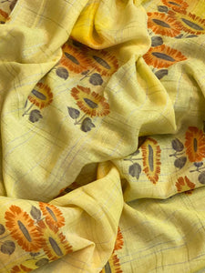 PANKHUDI--Lenin Silk Saree with All over Print & Silver Border both the side ( SET OF 5)