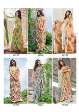 NATASHA- FLORAL PRINT SAREE WITH JAQUARD BORDER( SET OF 12)  catalogue