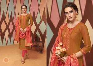 PARIDHAN VOL-3, SILK TOP AND COTTON SLAB BOTTOM DESIGNER SUIT WITH BANARASI SILK DUPATTA (SET OF 8)
