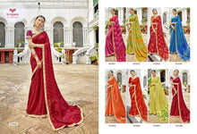 GANGOTRI- PURE GEORGETTE DESIGNER SAREE WITH EMBROIDERY( SET OF 8) Georgette Sarees catalogue
