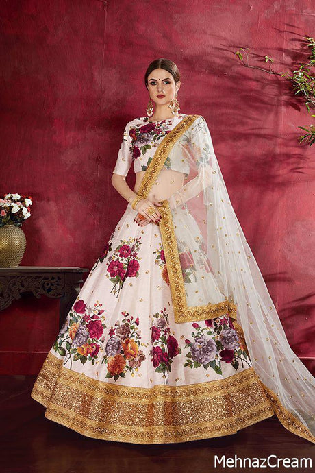 MEHNAZ- DESIGNER SILK LEHENGA WITH Digital Print with Dori, Sequence Embroidered Border and Pearl work (SET OF 6)