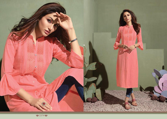 HOMERUN- RAYON DESIGNER KURTI WITH BEAUTIFUL WORK ( SET OF 8)