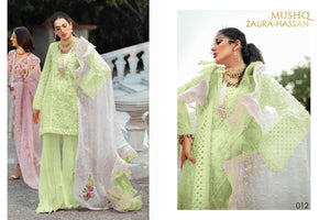 MUSHQ- CAMBRIC COTTON DESIGNER SUIT WITH EMBROIDERY AND BEAUTIFUL PEARL WORK ( SET OF 4)