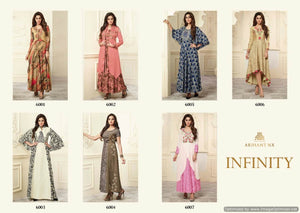 Designer Kurtis Wholesale Catalogue - Arihant - Infinity - Textile And Handicraft