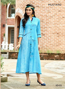 Designer Kurtis Wholesale Catalogue Khadi Handwork - Textile And Handicraft