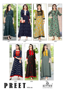 Designer Kurtis Wholesale Catalogue Preet Vol. 6 - Textile And Handicraft